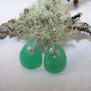 Shop Chrysoprase Earrings! Australian Chrysoprase briolette, rondelle, sterling silver coil wrap, earrings | Natural genuine Chrysoprase earrings. Buy crystal jewelry, handmade handcrafted artisan jewelry for women.  Unique handmade gift ideas. #jewelry #beadedearrings #beadedjewelry #gift #shopping #handmadejewelry #fashion #style #product #earrings #affiliate #ad