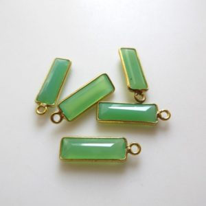 Shop Chrysoprase Faceted Beads! 6 Pieces Natural Chrysoprase Chalcedony Faceted Rectangle Bezel Connectors, 16x6mm Sterling Silver Single Loop Gemstone Charms, GDS1619 | Natural genuine faceted Chrysoprase beads for beading and jewelry making.  #jewelry #beads #beadedjewelry #diyjewelry #jewelrymaking #beadstore #beading #affiliate #ad