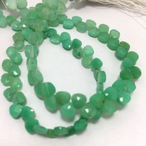 "Shop Chrysoprase Bead Shapes! 27 Carats Chrysophrase Faceted Hearts 5 mm 7""/Gemstone Beads/Green Beads/Heart Shaped Beads/Semi Precious Beads 