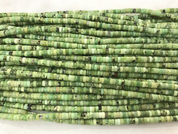 Natural Chrysoprase 4mm - 8mm Heishi Genuine Green Gemstone Loose Beads 15 Inch Jewelry Supply Bracelet Necklace Material Support Wholesale