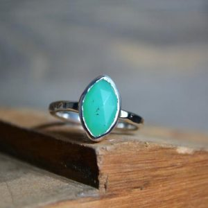 Chrysoprase Ring, Chrysoprase, Green Gemstone Ring, Gemstone Ring, Sterling Silver, Gemstone, Marquise, Rose Cut Gemstone, Rose Cut Ring | Natural genuine Gemstone rings, simple unique handcrafted gemstone rings. #rings #jewelry #shopping #gift #handmade #fashion #style #affiliate #ad