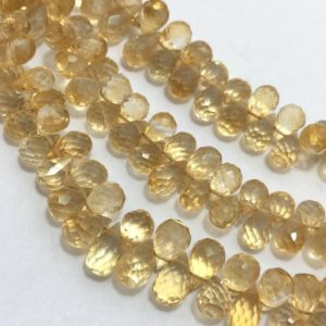 Shop Citrine Bead Shapes! 70 Cts Natural Citrine Faceted Drops Beads, 6mm to 7mm, 8 Inches, Yellow Beads, Gemstone Beads, Rare Beads, Semiprecious Stone Beads | Natural genuine other-shape Citrine beads for beading and jewelry making.  #jewelry #beads #beadedjewelry #diyjewelry #jewelrymaking #beadstore #beading #affiliate #ad