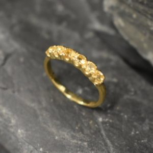 Shop Citrine Rings! Gold Citrine Ring, Natural Citrine, Stackable Band, November Birthstone, Gold Plated Ring, Dainty Yellow Band, Stackable Ring, Vermeil Ring | Natural genuine Citrine rings, simple unique handcrafted gemstone rings. #rings #jewelry #shopping #gift #handmade #fashion #style #affiliate #ad