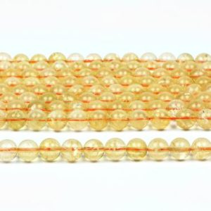 "Shop Citrine Round Beads! Citrine round beads,smooth beads,November birthstone beads,gemstone beads,unique beads,yellow beads,semiprecious beads – 16"" Full Strand 
