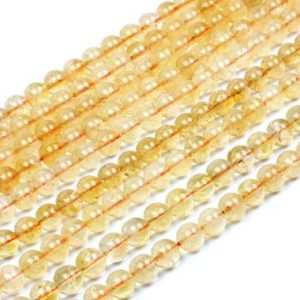 "Shop Citrine Round Beads! Yellow orange Citrine beads,semiprecious loose beads,gemstone beads,round beads,8mm beads,natural beads,non treated beads – 16"" Full Strand 