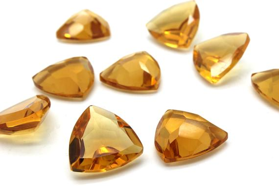 Trillion Gemstone Citrine,triangle Stone,gemstone Faceted Citrine,semiprecious Stones,loose Stones For Jewelry Making - Aa Quality - 1 Pc