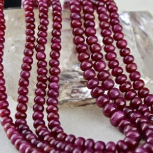 Shop Ruby Rondelle Beads! Classic 4 Line Natural Untreated RUBY RONDELLE BEADS Necklace With Silk Cord | Natural genuine rondelle Ruby beads for beading and jewelry making.  #jewelry #beads #beadedjewelry #diyjewelry #jewelrymaking #beadstore #beading #affiliate #ad