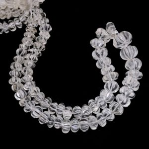 "Shop Quartz Crystal Rondelle Beads! Clear Crystal Quartz Carving 8mm-15mm Gemstone Rondelle Far Size Beads | 17"" Strand – 335Carats 