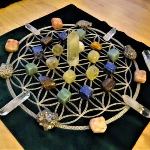 Shop Crystal Healing Charging Plates & Crystal Grid Mats! Crystal Grid Kit Set Green Velvet Cloth for Abundance Prosperity Healing Reiki Energy Charged Sacred Geometry Embroidered Flower of Life | Shop jewelry making and beading supplies, tools & findings for DIY jewelry making and crafts. #jewelrymaking #diyjewelry #jewelrycrafts #jewelrysupplies #beading #affiliate #ad