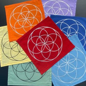 Shop Crystal Healing Charging Plates & Crystal Grid Mats! Crystal Grid Mat – Small Seed of Life  – Upcycled – Handmade – Repurposed – Altar Cloth | Shop jewelry making and beading supplies, tools & findings for DIY jewelry making and crafts. #jewelrymaking #diyjewelry #jewelrycrafts #jewelrysupplies #beading #affiliate #ad