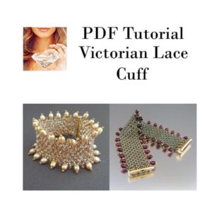 Shop Jewelry Making Tutorials! Cuff Beaded Pattern, Victorian Lace Cuff PDF, Tutorial Beading Pattern | Shop jewelry making and beading supplies, tools & findings for DIY jewelry making and crafts. #jewelrymaking #diyjewelry #jewelrycrafts #jewelrysupplies #beading #affiliate #ad