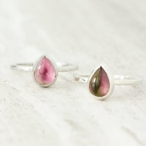 Shop Watermelon Tourmaline Rings! Dainty Pear Cut Watermelon Tourmaline Ring, Everyday October birthstone Ring, Healing Heart Chakra Ring, Bi Color Tourmaline Good Luck Ring | Natural genuine Watermelon Tourmaline rings, simple unique handcrafted gemstone rings. #rings #jewelry #shopping #gift #handmade #fashion #style #affiliate #ad