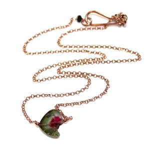 Shop Watermelon Tourmaline Jewelry! Delicate Watermelon Tourmaline Necklace Pink Gold | Natural genuine Watermelon Tourmaline jewelry. Buy crystal jewelry, handmade handcrafted artisan jewelry for women.  Unique handmade gift ideas. #jewelry #beadedjewelry #beadedjewelry #gift #shopping #handmadejewelry #fashion #style #product #jewelry #affiliate #ad