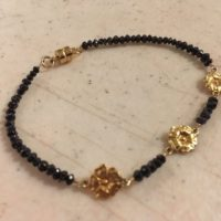 Black Diamond Bracelet – Black Jewelry – Gold Vermeil Jewellery – Gemstone – Dainty – Flower – Luxe | Natural genuine Gemstone jewelry. Buy crystal jewelry, handmade handcrafted artisan jewelry for women.  Unique handmade gift ideas. #jewelry #beadedjewelry #beadedjewelry #gift #shopping #handmadejewelry #fashion #style #product #jewelry #affiliate #ad