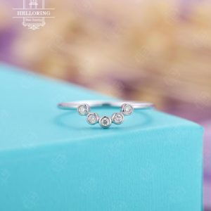 Curved wedding band Vintage wedding band Diamond Antique Chevron Bridal Unique Stacking Matching Five stones Anniversary Promise ring | Natural genuine Gemstone rings, simple unique alternative gemstone engagement rings. #rings #jewelry #bridal #wedding #jewelryaccessories #engagementrings #weddingideas #affiliate #ad