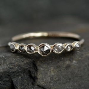 Rose Cut Salt and Pepper Diamond Band Ring. Salt and Pepper Ring. Rustic Diamond Ring. Raw Diamond Ring. Diamond Wedding Band Ring. | Natural genuine Gemstone rings, simple unique alternative gemstone engagement rings. #rings #jewelry #bridal #wedding #jewelryaccessories #engagementrings #weddingideas #affiliate #ad