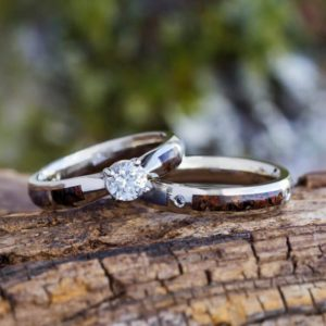 Dinosaur Bone Bridal Set With White Sapphire Engagement Ring and Coordinating Wedding Band | Natural genuine Array rings, simple unique alternative gemstone engagement rings. #rings #jewelry #bridal #wedding #jewelryaccessories #engagementrings #weddingideas #affiliate #ad