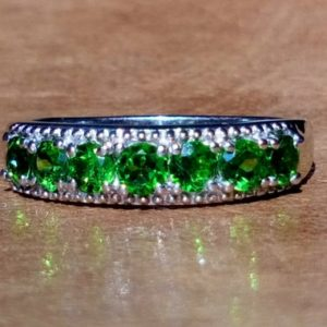 Shop Diopside Rings! AA Natural Russian diopside band ring UK size L | Natural genuine Diopside rings, simple unique handcrafted gemstone rings. #rings #jewelry #shopping #gift #handmade #fashion #style #affiliate #ad