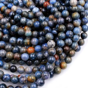 "Natural Sunset Dumortierite Round Beads 4mm 6mm 8mm 10mm 12mm Round Beads Rare Earthy Blue Rusty Orange Natural Stone 15.5"" Strand 