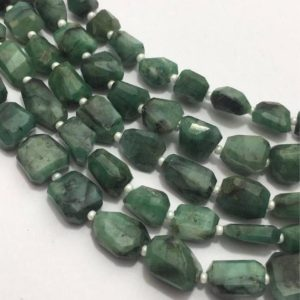 Natural Emerald Faceted Laser Tumble/Nuggets Beads, 10mm to 15mm, 14 inches, Green Beads, Gemstone Beads, Semiprecious Stone Beads | Natural genuine chip Emerald beads for beading and jewelry making.  #jewelry #beads #beadedjewelry #diyjewelry #jewelrymaking #beadstore #beading #affiliate #ad