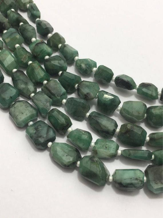 Natural Emerald Faceted Laser Tumble/nuggets Beads, 10mm To 15mm, 14 Inches, Green Beads, Gemstone Beads, Semiprecious Stone Beads