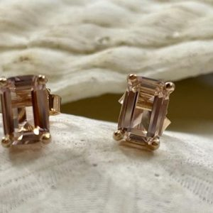 Emerald Cut Morganite Earrings, Morganite Stud Earrings, Gold Morganite Earrings, Silver Morganite Earrings, Emerald Cut Earrings | Natural genuine Morganite earrings. Buy crystal jewelry, handmade handcrafted artisan jewelry for women.  Unique handmade gift ideas. #jewelry #beadedearrings #beadedjewelry #gift #shopping #handmadejewelry #fashion #style #product #earrings #affiliate #ad