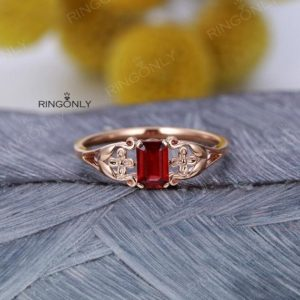 Emerald cut Ruby Engagement ring Vintage Women Wedding Rose gold Antique Solitaire Unique Anniversary  Art deco Flower Promise | Natural genuine Array rings, simple unique alternative gemstone engagement rings. #rings #jewelry #bridal #wedding #jewelryaccessories #engagementrings #weddingideas #affiliate #ad