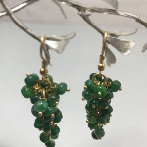 Shop Emerald Earrings! Emerald Round Grapes Beads Earrings, Green Beads, Brass Hook, Beaded Earrings, Gemstone Beads, Semiprecious Beads   Natural genuine Emerald earrings. Buy crystal jewelry, handmade handcrafted artisan jewelry for women.  Unique handmade gift ideas. #jewelry #beadedearrings #beadedjewelry #gift #shopping #handmadejewelry #fashion #style #product #earrings #affiliate #ad