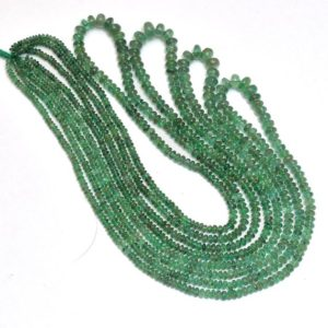 Shop Emerald Rondelle Beads! Natural Green Emerald Gemstone 3mm-6mm Smooth Rondelle Beads | 18inch Strand | AAA Emerald Precious Gemstone Beads Strand for Jewelry Making | Natural genuine rondelle Emerald beads for beading and jewelry making.  #jewelry #beads #beadedjewelry #diyjewelry #jewelrymaking #beadstore #beading #affiliate #ad