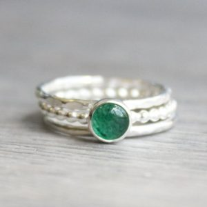 Shop Aventurine Jewelry! Emerald Green Aventurine Ring Set // Set of 3 Sterling Silver Aventurine Rings // Stacking Rings // May Birthstone Gift // Gemstone Ring Set | Natural genuine Aventurine jewelry. Buy crystal jewelry, handmade handcrafted artisan jewelry for women.  Unique handmade gift ideas. #jewelry #beadedjewelry #beadedjewelry #gift #shopping #handmadejewelry #fashion #style #product #jewelry #affiliate #ad