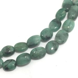 Shop Emerald Bead Shapes! Natural Emerald Plain Oval Beads, 7mm to 13mm, 18 inches, Green Beads, Gemstone Beads, Semiprecious Stone Beads | Natural genuine other-shape Emerald beads for beading and jewelry making.  #jewelry #beads #beadedjewelry #diyjewelry #jewelrymaking #beadstore #beading #affiliate #ad
