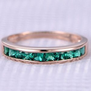 Lab Emerald Wedding Ring Solid 14k Rose Gold Engagement Ring Green Princess Cut Gem Stone Bridal Ring Personalized For Her / him Custom Ring | Natural genuine Gemstone rings, simple unique alternative gemstone engagement rings. #rings #jewelry #bridal #wedding #jewelryaccessories #engagementrings #weddingideas #affiliate #ad