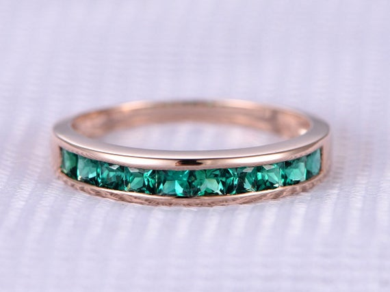 Lab Emerald Wedding Ring Solid 14k Rose Gold Engagement Ring Green Princess Cut Gem Stone Bridal Ring Personalized For Her/him Custom Ring