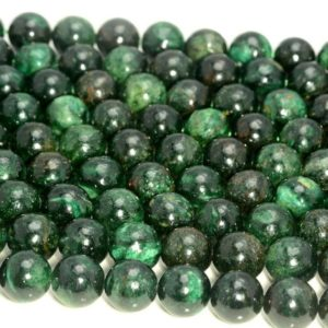 Shop Emerald Round Beads! Emerald in Fuchsite Gemstone Genuine 100% Natural Rare Green Grade AAA 4mm 6mm 8mm 10mm 12mm Round Loose Beads (A210) | Natural genuine round Emerald beads for beading and jewelry making.  #jewelry #beads #beadedjewelry #diyjewelry #jewelrymaking #beadstore #beading #affiliate #ad