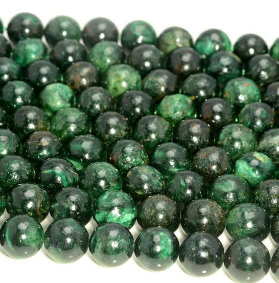 Rare Emerald In Fuchsite Gemstone Genuine 100% Natural Green Grade Aaa 4mm 6mm 8mm 10mm 12mm Round Loose Beads (a210)