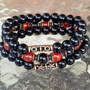 Empath Protection // Carnelian and Black Tourmaline Bracelet // Aura and Negative Energy Protection // Reiki Jewelry // Healing Crystal Mala | Natural genuine Array bracelets. Buy crystal jewelry, handmade handcrafted artisan jewelry for women.  Unique handmade gift ideas. #jewelry #beadedbracelets #beadedjewelry #gift #shopping #handmadejewelry #fashion #style #product #bracelets #affiliate #ad