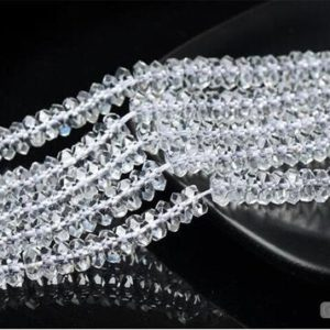 Shop Quartz Crystal Rondelle Beads! Faceted Grade AAA Natural Clear Quartz Rondelle Beads with 20 Facets 2.5x5mm 3x6mm Shiny Faceted Beads 15 Inch Strand CQ36 | Natural genuine rondelle Quartz beads for beading and jewelry making.  #jewelry #beads #beadedjewelry #diyjewelry #jewelrymaking #beadstore #beading #affiliate #ad