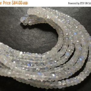 Shop Rainbow Moonstone Rondelle Beads! Fine AAA Quality — Natural Rainbow Moonstone Micro Faceted Roundell Beads , 5 – 7 mm approx , 16 inch strand | Natural genuine rondelle Rainbow Moonstone beads for beading and jewelry making.  #jewelry #beads #beadedjewelry #diyjewelry #jewelrymaking #beadstore #beading #affiliate #ad