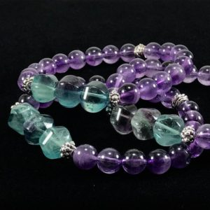 Shop Fluorite Bracelets! Amethyst And Rainbow Fluorite Bracelet / Purple / Green / Gemstone / Bracelet / Rainbow / Nature Art / Jewelry | Natural genuine Fluorite bracelets. Buy crystal jewelry, handmade handcrafted artisan jewelry for women.  Unique handmade gift ideas. #jewelry #beadedbracelets #beadedjewelry #gift #shopping #handmadejewelry #fashion #style #product #bracelets #affiliate #ad
