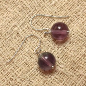 Shop Fluorite Earrings! Earrings 925 Sterling Silver And Stone – Fluorite Purple 10mm | Natural genuine Fluorite earrings. Buy crystal jewelry, handmade handcrafted artisan jewelry for women.  Unique handmade gift ideas. #jewelry #beadedearrings #beadedjewelry #gift #shopping #handmadejewelry #fashion #style #product #earrings #affiliate #ad