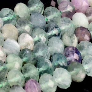 Shop Fluorite Faceted Beads! Genuine Natural Multicolor Fluorite Loose Beads Faceted Rondelle Shape 8x6mm | Natural genuine faceted Fluorite beads for beading and jewelry making.  #jewelry #beads #beadedjewelry #diyjewelry #jewelrymaking #beadstore #beading #affiliate #ad