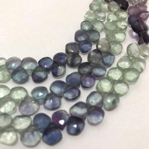 Shop Fluorite Faceted Beads! Natural Multi Fluorite Faceted Hearts Beads, 6.5mm to 7.5mm, 8 inches, Rare Beads, Gemstone Beads, Semiprecious Stone Beads | Natural genuine faceted Fluorite beads for beading and jewelry making.  #jewelry #beads #beadedjewelry #diyjewelry #jewelrymaking #beadstore #beading #affiliate #ad