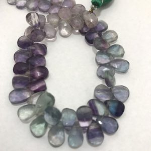 Shop Fluorite Bead Shapes! Multi Fluorite Faceted Briolette Pears 6×9 to 7×10 mm Gemstone Beads Strand Sale / Semi Precious Bead / Multi Fluorite Beads / Faceted Pears | Natural genuine other-shape Fluorite beads for beading and jewelry making.  #jewelry #beads #beadedjewelry #diyjewelry #jewelrymaking #beadstore #beading #affiliate #ad