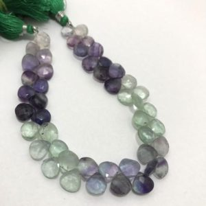 Shop Fluorite Bead Shapes! 116 cts Multi Flourite Faceted Hearts 8mm to 9mm 8 Inches Stone Beads/Multi Color Beads/Flourite Beads/Semiprecious stone beads | Natural genuine other-shape Fluorite beads for beading and jewelry making.  #jewelry #beads #beadedjewelry #diyjewelry #jewelrymaking #beadstore #beading #affiliate #ad