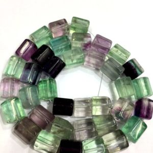 "Natural Fluorite Twisted Tube Shape Beads 8.MM Fluorite Tube Beads Fluorite Gemstone Multi Fluorite Beads 14"" Strand Top Quality 
