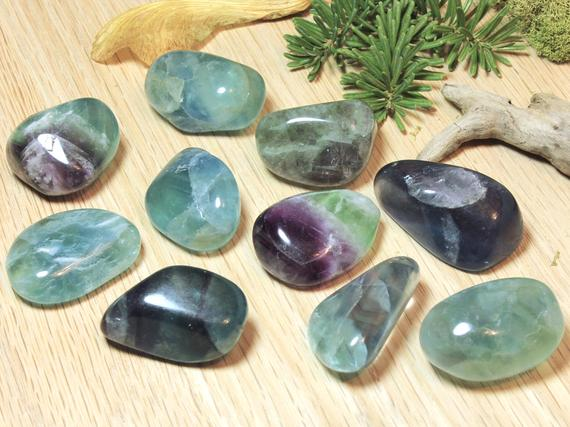 Fluorite Tumbled Stones Natural Green Purple Gemstone Polished Pocket Stone Healing Protecting Birthday Holiday Gift For Her Him 51036