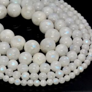 Free USA Ship Genuine Rainbow Moonstone Gemstone Indian Grade AA 4mm 5mm 6mm 7mm 8mm 9mm 10mm 11mm 12mm Round Loose Beads Full Strand (499) | Natural genuine round Gemstone beads for beading and jewelry making.  #jewelry #beads #beadedjewelry #diyjewelry #jewelrymaking #beadstore #beading #affiliate #ad
