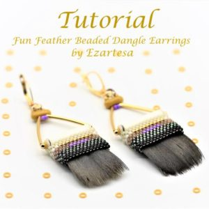Shop Jewelry Making Tutorials! Fun Feather Beaded Dangle Earrings Tutorial, Beading Pattern with Purple, White, Beige and Black Glass Seed Beads by Ezartesa | Shop jewelry making and beading supplies, tools & findings for DIY jewelry making and crafts. #jewelrymaking #diyjewelry #jewelrycrafts #jewelrysupplies #beading #affiliate #ad