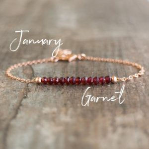 Garnet Birthstone Bracelet, Natural Garnet Beaded Gemstone Bracelet in Rose Gold and Silver, Birthday Gifts for Her | Natural genuine Garnet bracelets. Buy crystal jewelry, handmade handcrafted artisan jewelry for women.  Unique handmade gift ideas. #jewelry #beadedbracelets #beadedjewelry #gift #shopping #handmadejewelry #fashion #style #product #bracelets #affiliate #ad