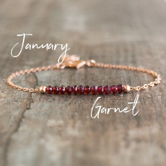 Garnet Birthstone Bracelet, Garnet Bead Bracelet, Birthday Gifts For Her, Natural Garnet Bracelet, Gemstone Bracelet, Rose Gold Bracelet